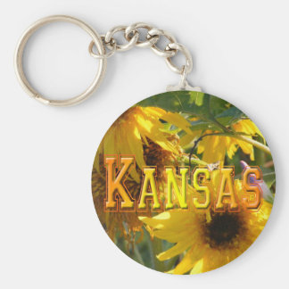 Teddy Bear Sunflowers: Kansas Basic Round Button Keychain