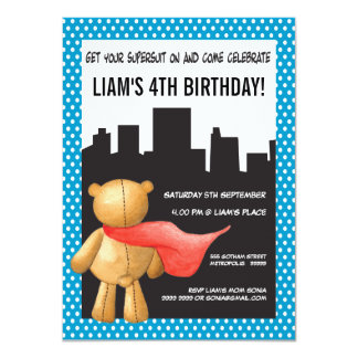 Teddy Bear Super Hero Boys Birthday Party Invite
