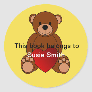 """Teddy Bear """"This book belongs to"""" bookplate Classic Round Sticker"""