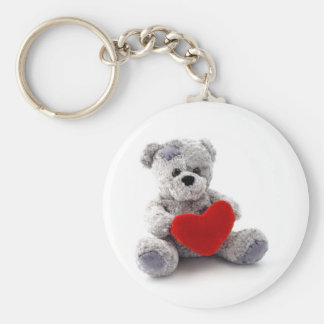 Teddy Bear Toy Holding A Heart On White Background Keychain