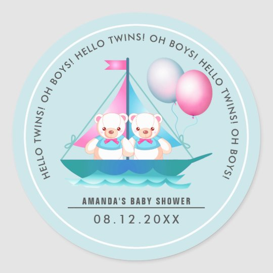 Teddy Bear | Twin Boys Baby Shower Favour Stickers