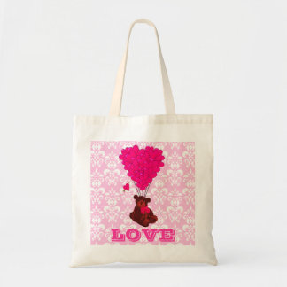 Teddy bear valentines love budget tote bag