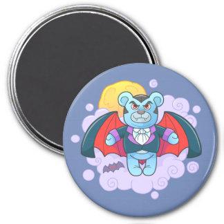 Teddy bear vampire 3 inch round magnet