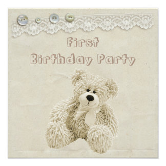 "Teddy Bear Vintage Lace 1st Birthday Party 5.25"" Square Invitation Card"