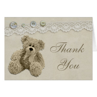 Teddy Bear Vintage Lace Thank You Card
