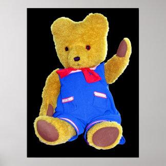 Teddy Bear Waving, Black Back, Style 3 Posters