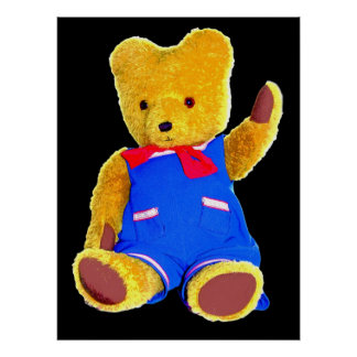 Teddy Bear Waving Black Background Poster