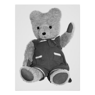 Teddy Bear Waving, Black & White, Full Posters