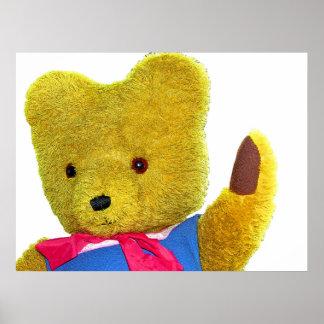 Teddy Bear Waving, Head and Shoulders (1) Print