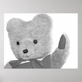 Teddy Bear Waving, Head / Shoulders, B & W Posters