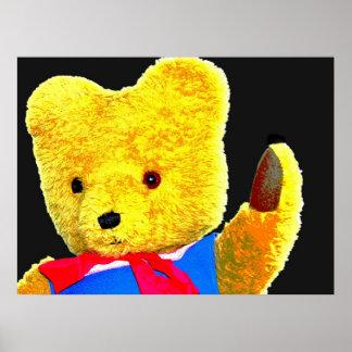 Teddy Bear Waving, Head / Shoulders, Black Back(1) Posters