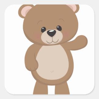 Teddy Bear Waving Square Sticker