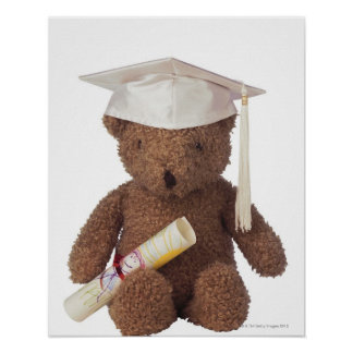 Teddy bear wearing mortarboard and with crayon poster