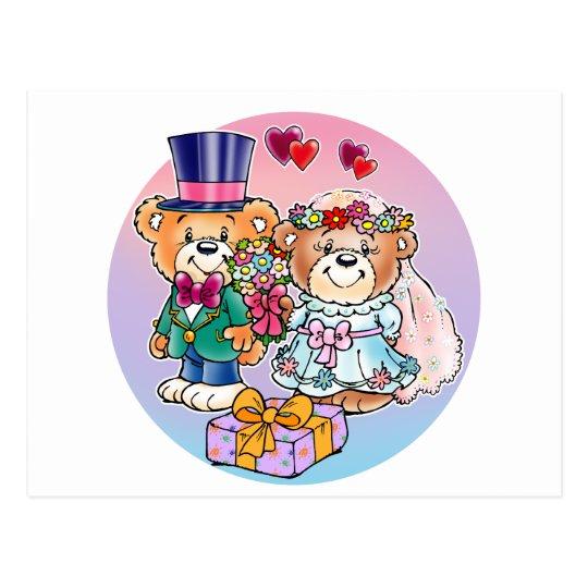 Teddy Bear Wedding Couple Postcard