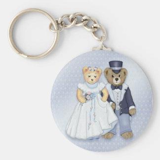 Teddy Bear Wedding - Customize Basic Round Button Keychain