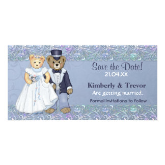 Teddy Bear Wedding Save The Date Picture Card