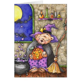 Teddy Bear Witch Halloween Card - Customizable