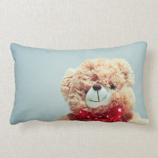 Teddy Bear with a Red Bow Lumbar Pillow