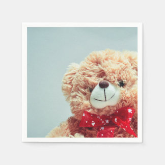 Teddy Bear with a Red Bow Paper Napkin