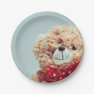 Teddy Bear with a Red Bow Paper Plate