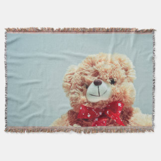 Teddy Bear with a Red Bow Throw Blanket