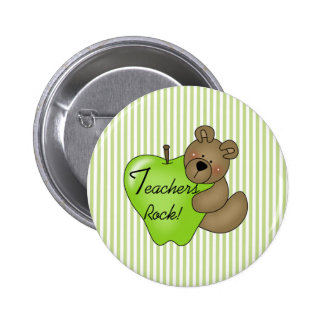 Teddy Bear with Apple Teachers Rock 2 Inch Round Button