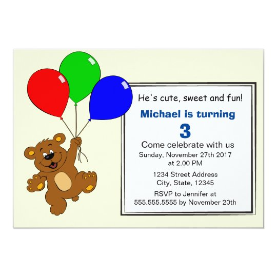Teddy bear with balloons kids birthday party card