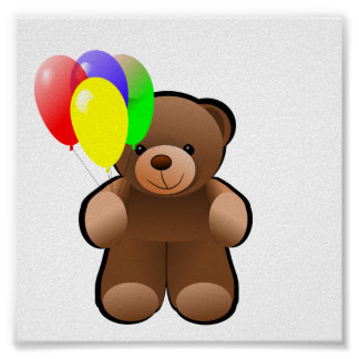 Teddy Bear With Balloons Poster
