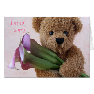 teddy bear with calla lilies apology card