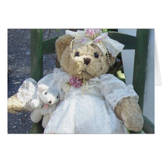 Teddy Bear with Dog Doll in Chair Greeting Card