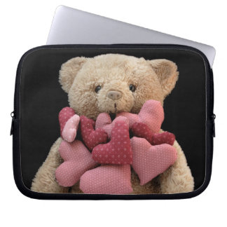 teddy bear with fabric hearts laptop sleeve