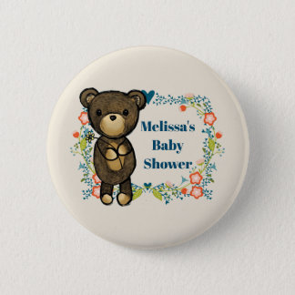 Teddy bear with Floral Wreath Baby Shower 2 Inch Round Button