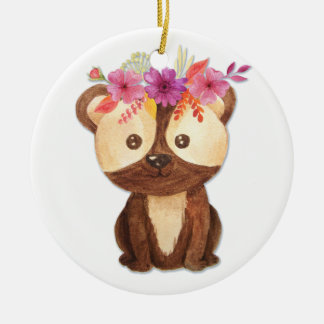 Teddy Bear With Flower Crown Ceramic Ornament