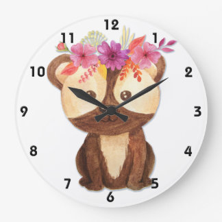 Teddy Bear With Flower Crown Large Clock