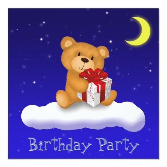 Teddy Bear with Gift - Birthday Party Invitation