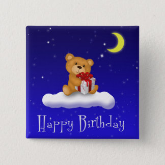 Teddy Bear with Gift - Happy Birthday Button
