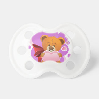 Teddy Bear with Heart 2 Baby Pacifiers