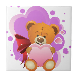 Teddy Bear with Heart 2 Tiles