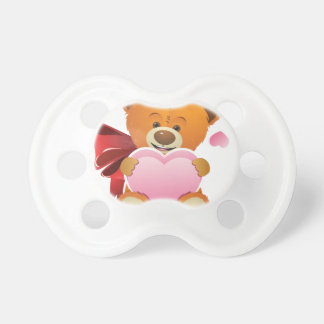 Teddy Bear with Heart Baby Pacifier