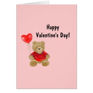 Teddy Bear with heart balloon Card