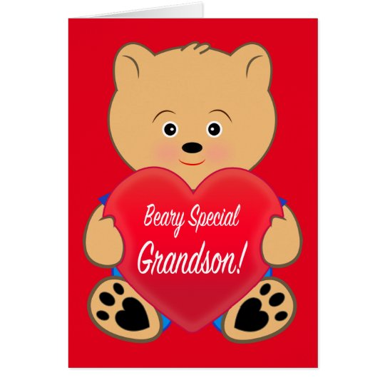 Teddy Bear with Heart Birthday Grandson Card
