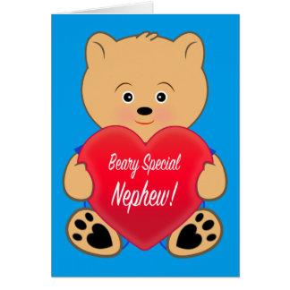 Teddy Bear with Heart Birthday Nephew Card