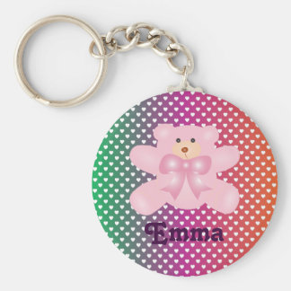 Teddy Bear With Hearts Polka Dot Pattern Basic Round Button Keychain