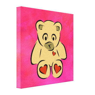 teddy bear with hearts stretched canvas prints
