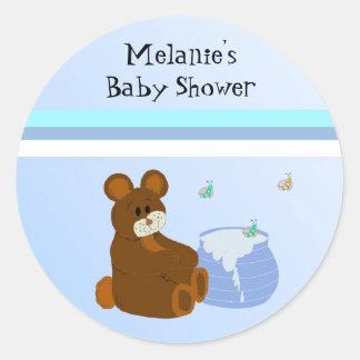 Teddy Bear With Honey Pot Baby Shower Round Sticker