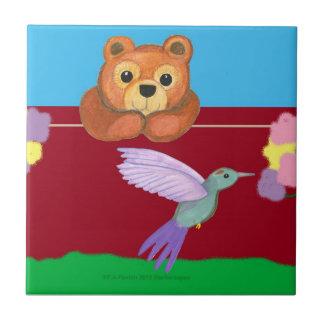 Teddy bear with hummingbird tile