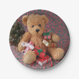 Teddy bear with many Christmas gifts Paper Plate