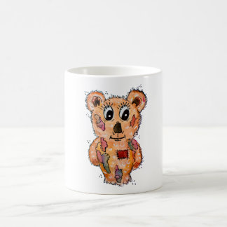 Teddy bear with patches coffee mug