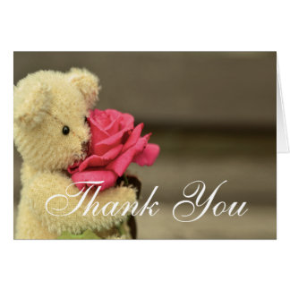 Teddy Bear With Rose Thank You Card