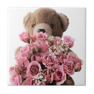 teddy bear with roses tile